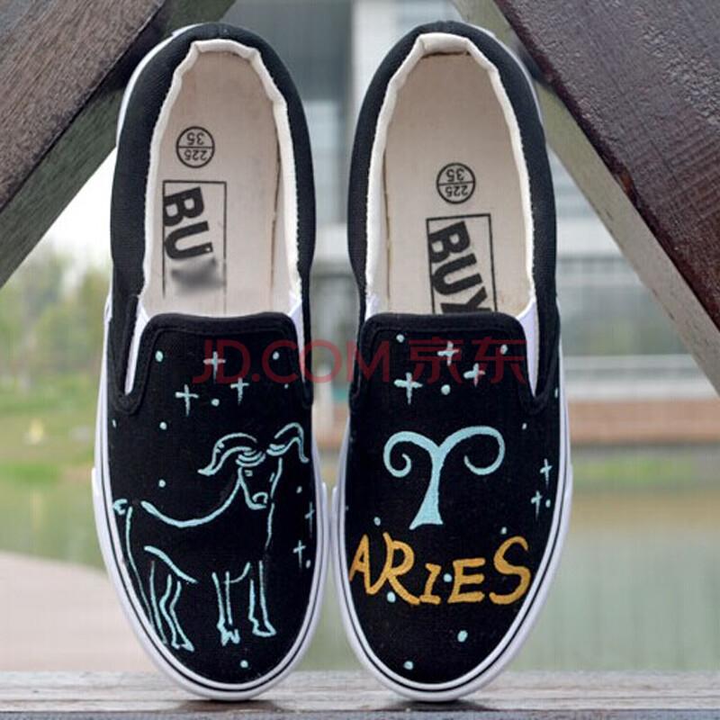 卜丁夜光十二星座低帮手绘鞋女潮鞋休闲鞋涂鸦单鞋套