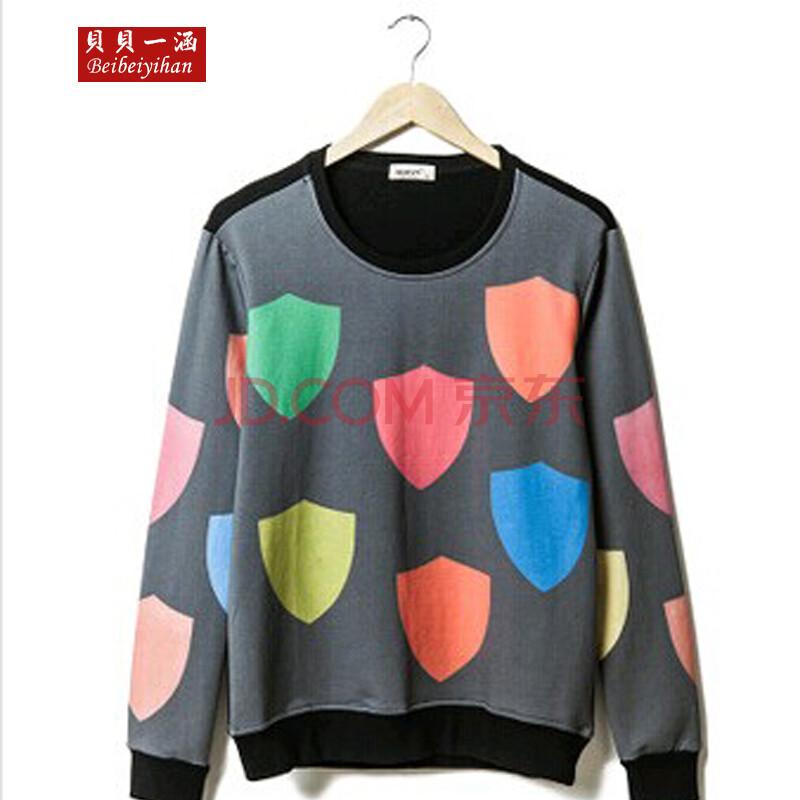 贝贝一涵2014秋季新款韩版潮流男装多色几何图形印花修身款男士圆领套