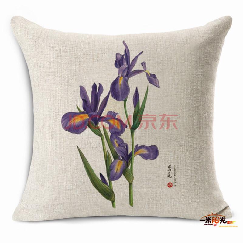 馨伊媛 手绘花朵盆栽花瓶荷花棉麻沙发抱枕汽车靠垫套