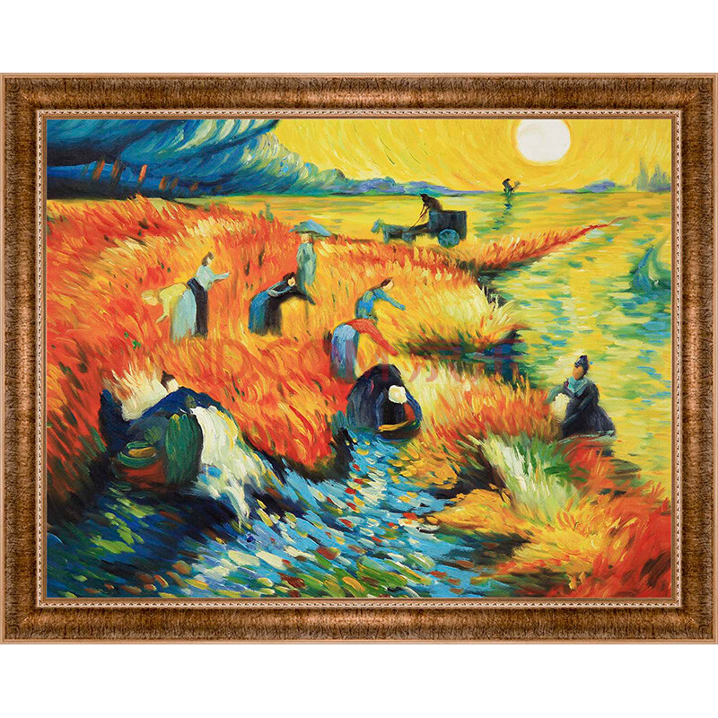 梦彩阁手绘油画 梵高系列油画 客厅装饰画 餐厅挂画 花卉壁画 无框画