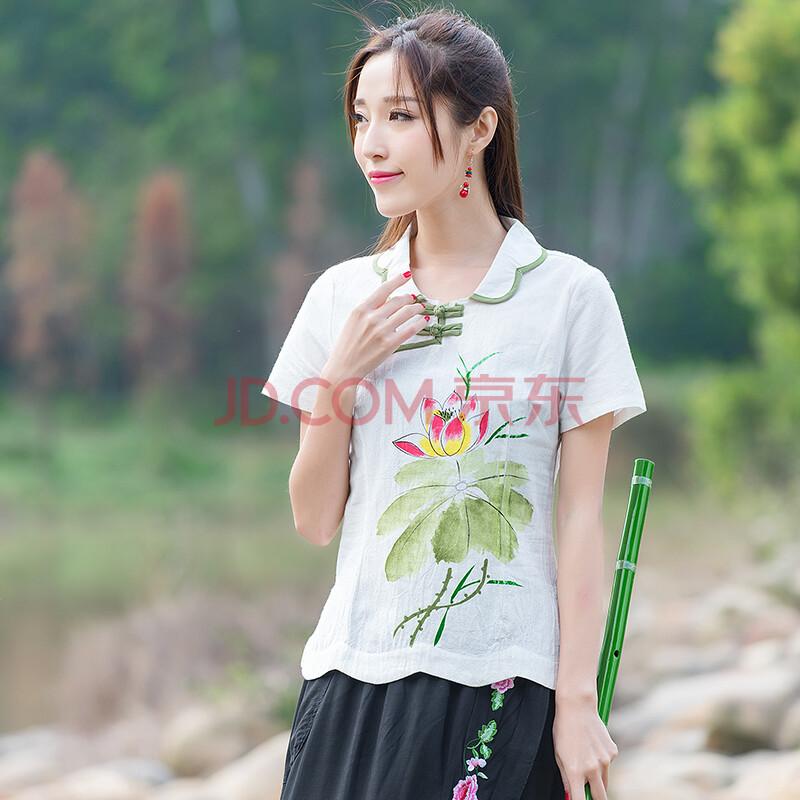 中国风女装手绘短袖麻汉服改良旗袍上衣女 白色 l
