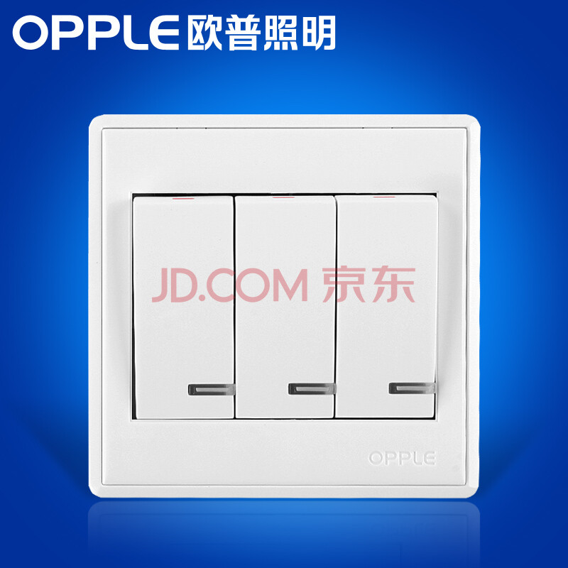 欧普照明 三开单控开关插座面板 86型白色3开单联墙壁图片