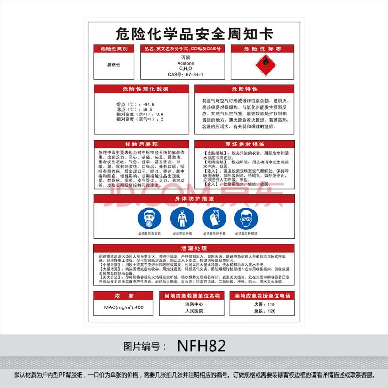 订做危险化学品挂图海报 安全周知卡 贴画 标贴 丙酮 nfh82 户外型