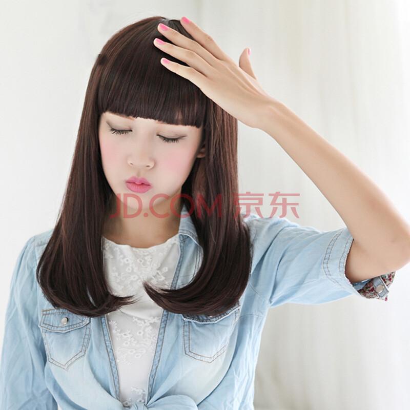 梨花头中长 卷发 假发套 齐刘海修脸 微卷wig 棕黑色图片