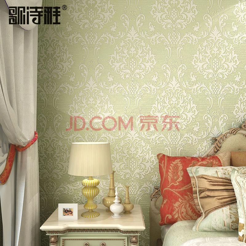 歌诗雅美式墙纸 客厅卧室背景墙欧式大马士革 绿色清新壁纸 014-2浅图片