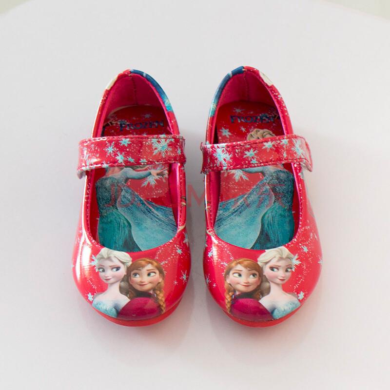 2016春款女童皮鞋儿童公主鞋冰雪奇缘卡通印花单鞋1