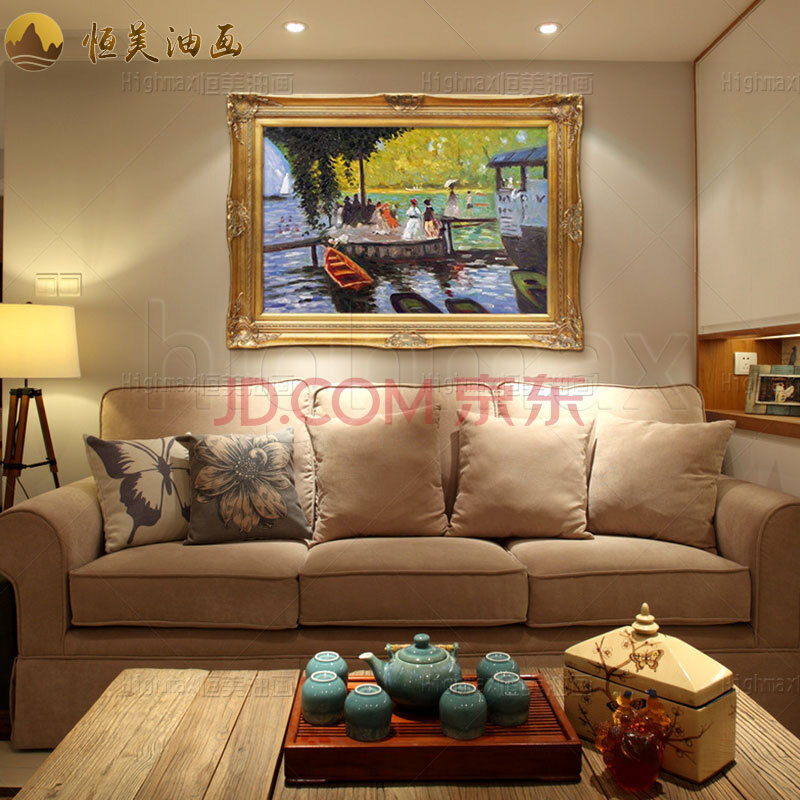恒美 欧式手绘油画家居软装客厅卧室餐厅玄关走道楼梯