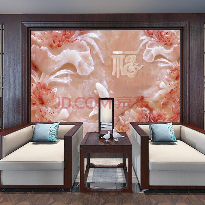 艺术类瓷砖背景墙中式现代沙发影视墙客厅卧室电视背景墙浮雕福字款图片