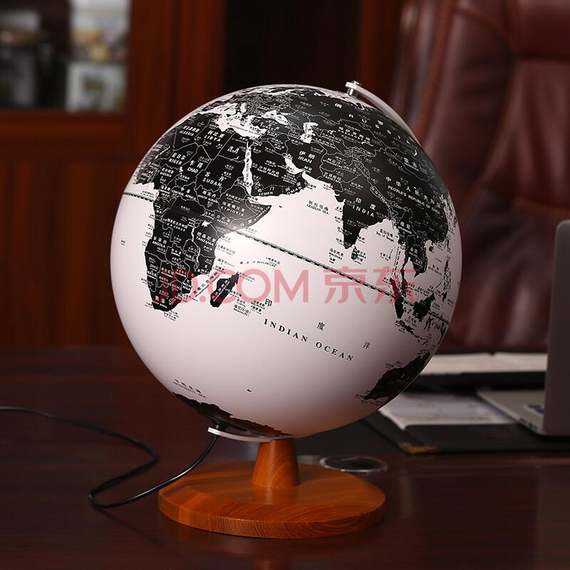 2016年新款黑白地球仪学生用32cm高清发光教学大号带灯办公书房客厅