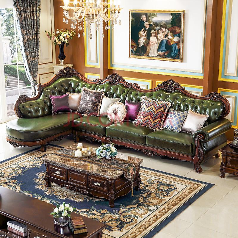 凯思曼 沙发 欧式沙发 美式实木沙发 实木真皮转角沙发 客厅组合沙发