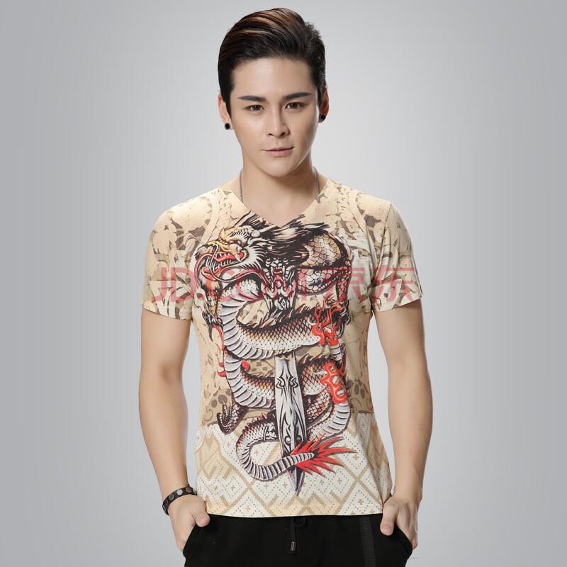 男装复古花纹短袖t恤男装外贸短袖衫 中国风男生印花大码短袖t恤男