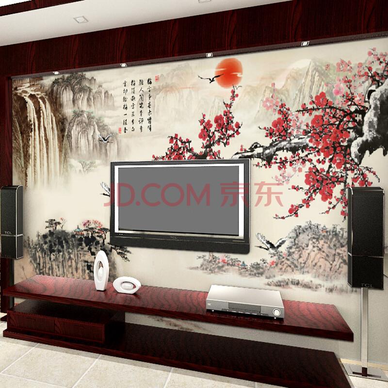 塞拉维中式背景墙装饰壁画 古典山水梅花字画客厅电视沙发背景墙壁纸图片
