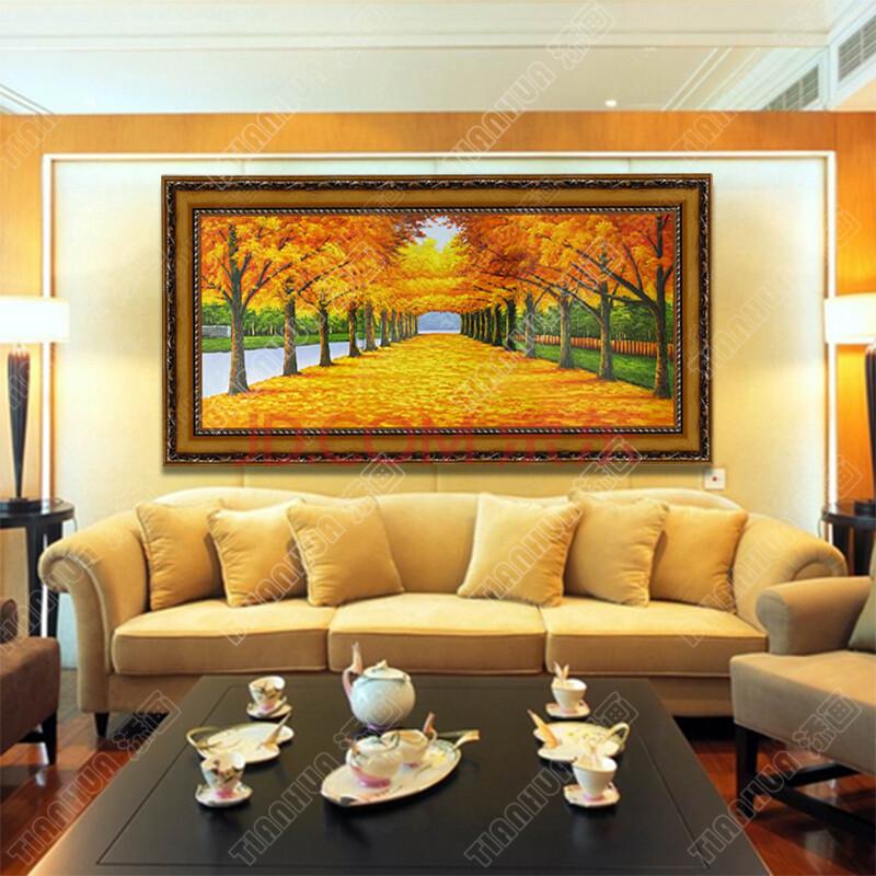 添画 欧式客厅装饰油画 手绘风景油画 大厅沙发墙配画