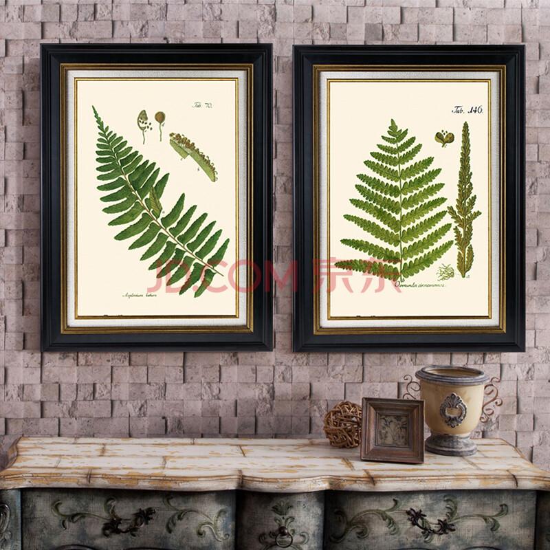 森朴 美式复古乡村田园餐厅装饰画 玄关书房客厅挂画经典植物图谱墙画图片