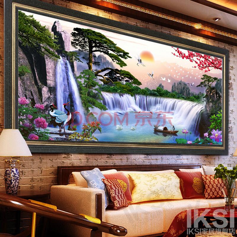 2014最新款十字绣客厅流水生财大幅山水画印花仙鹤松