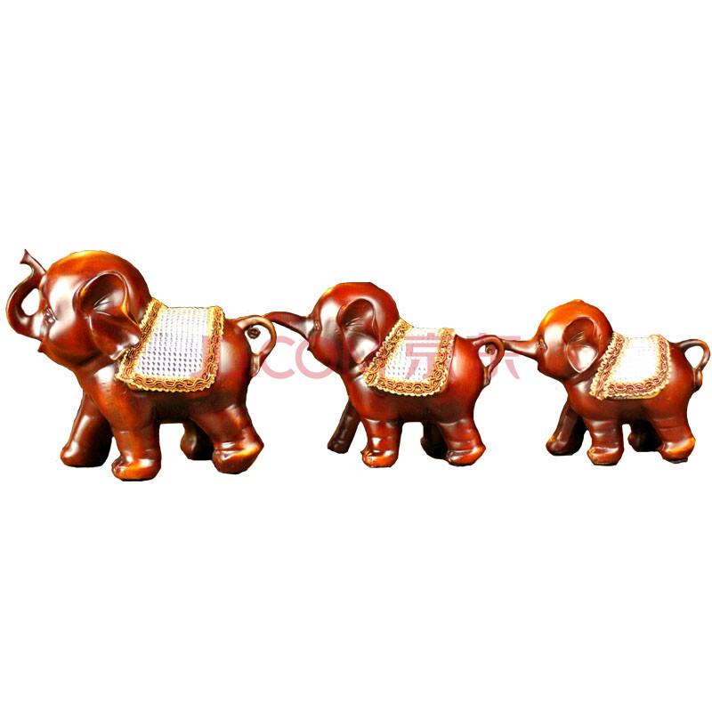 一家三口大象摆件