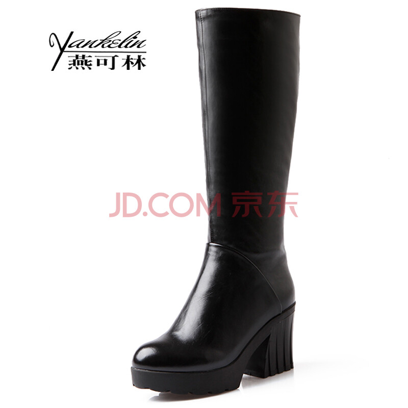 欧美����y�)��a_秋冬新款欧美简约高跟女靴子圆头侧拉链粗跟高筒靴休闲骑士靴y206a