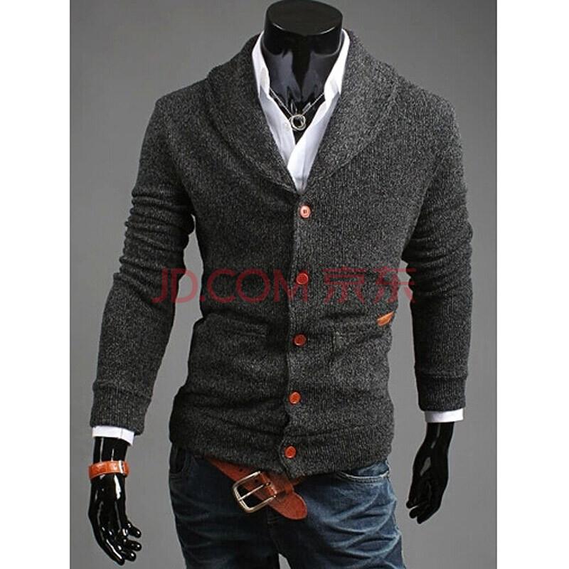 潮朝(c2chaochao)2014秋装新款男士v领毛衣针织衫男装修身型长袖外套