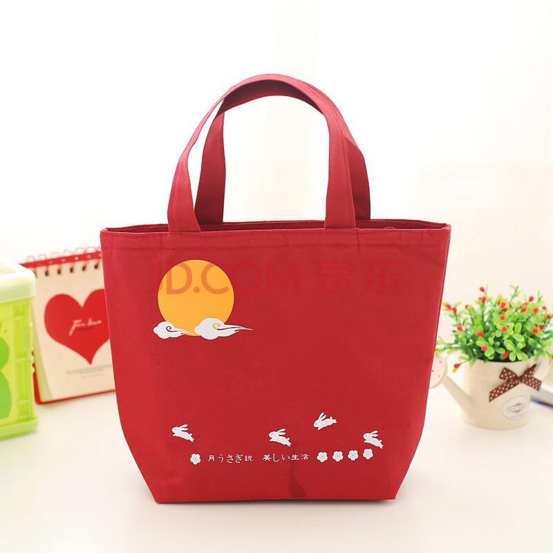 日式多功能提手保温便当包便当袋 饭盒饭袋 月兔红色