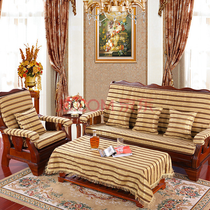 八度空间家居 实木沙发垫 防滑红木沙发座垫带靠背套装 黄金条纹 55*