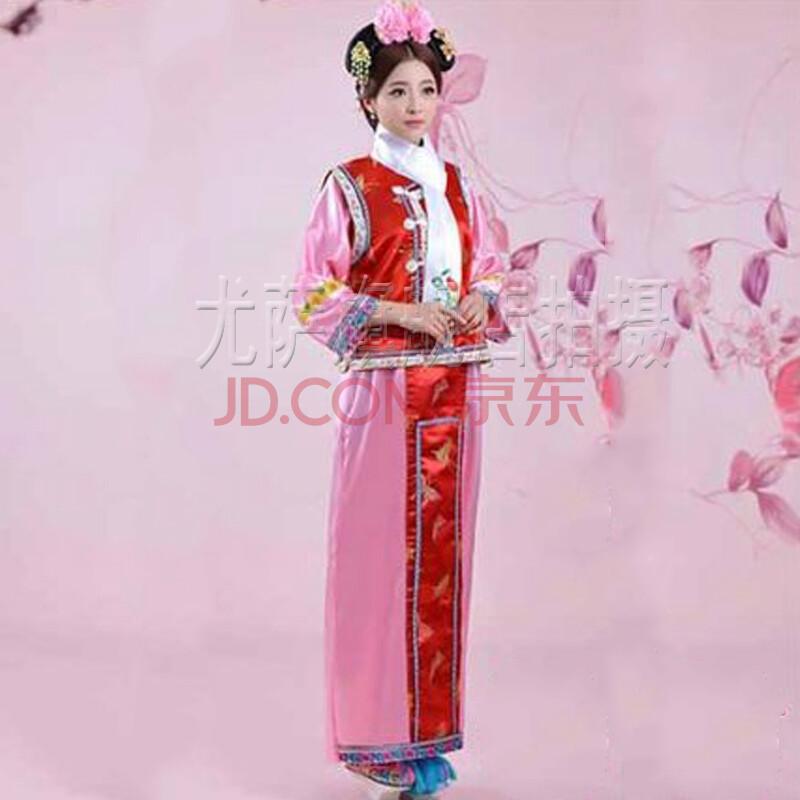 清朝服装格格福晋装民国女装高贵小姐服秀禾装古装唐装秀和服 粉底红