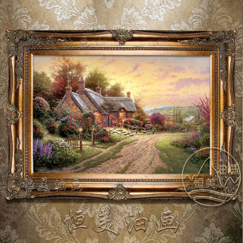 恒美 手绘油画世界名画有框风景画现代欧式家居客厅挂