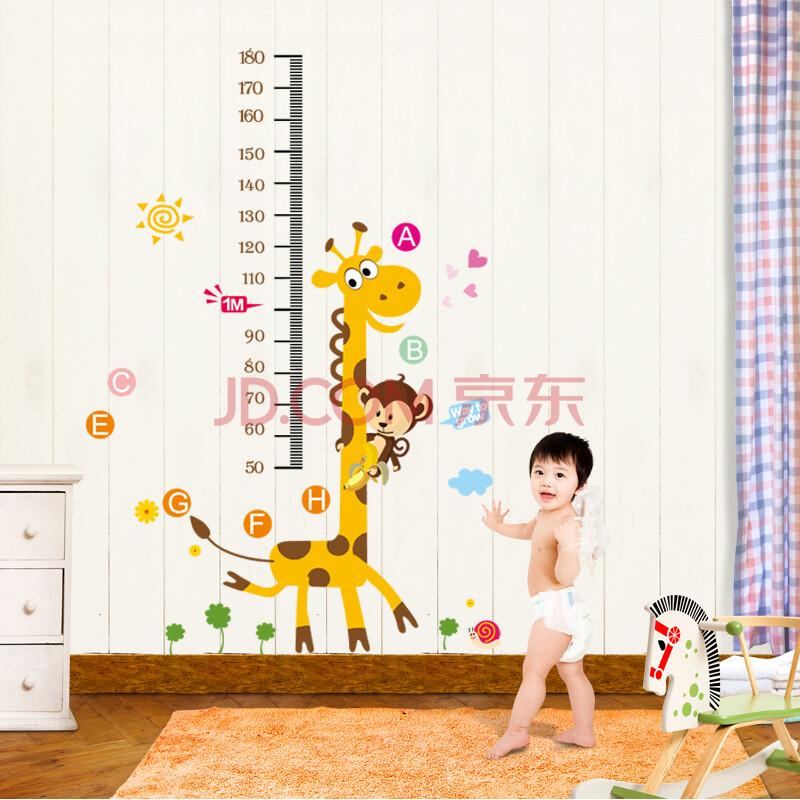 贴纸贴画小鹿量身高贴身高尺儿童房间墙壁布置幼儿园布置 小鹿身高贴
