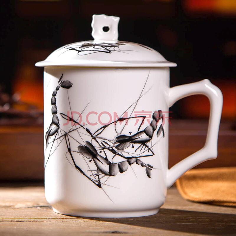 陶相惠 景德镇骨瓷茶杯 手绘陶瓷杯子 带盖 泡茶杯绿茶杯 高档办公杯