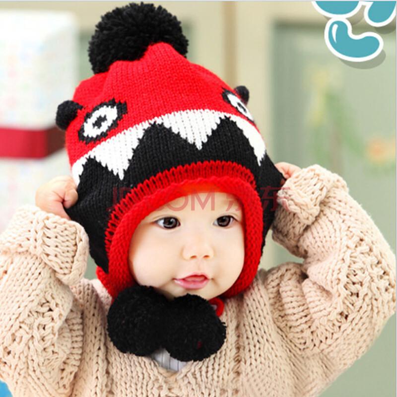 儿童毛线帽子 韩版恐龙造型宝宝护耳保暖帽 小孩针织帽 红色