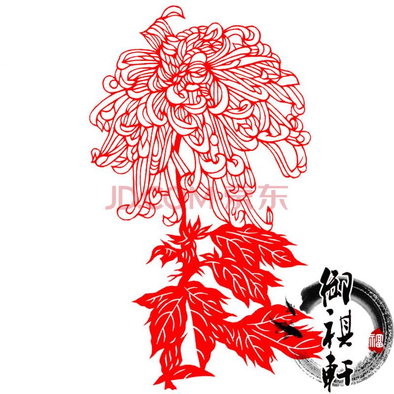 年货中国特色礼品手工剪纸雕刻作品窗花玻璃贴花卉款