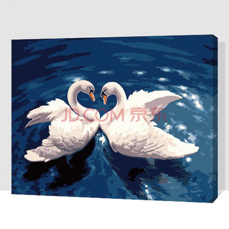 数字油画 简易手工自助手绘挂画 天鹅系列 卧室客厅玄关艺术装饰 gx7
