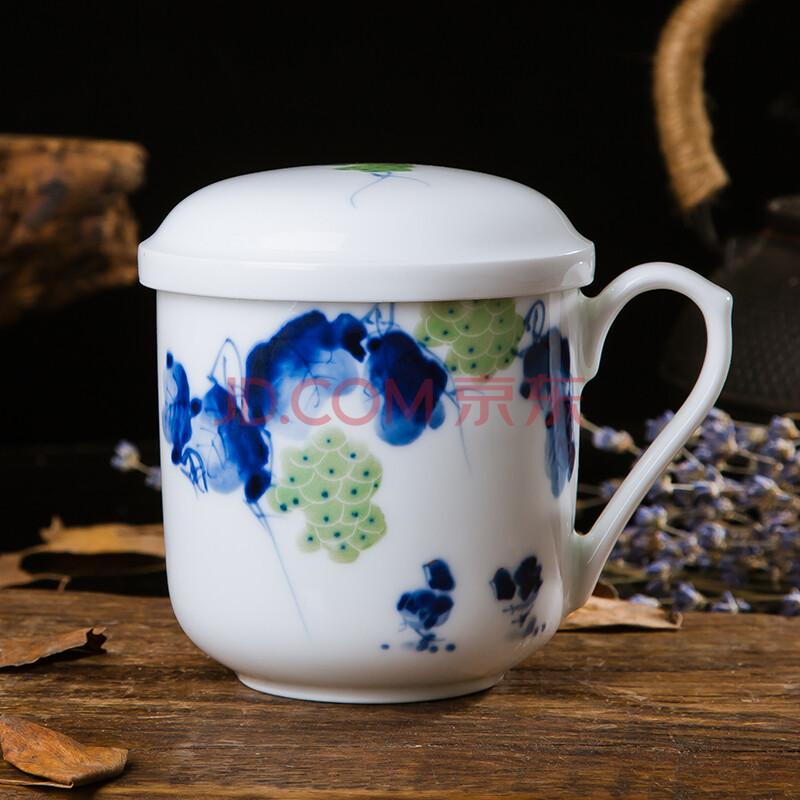 特价景德镇手绘茶杯陶瓷 带盖内胆过滤水杯 礼品办公个人杯子包邮 绿