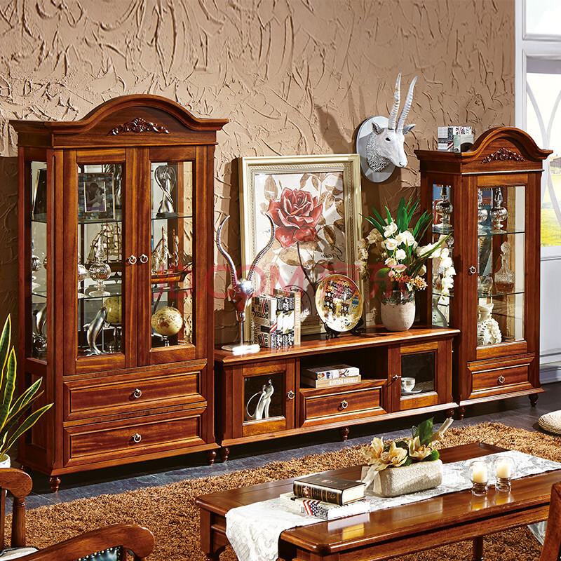 法莉娜 欧式实木酒柜 客厅单双门酒柜玻璃 现代中式酒柜电视柜组合p43图片