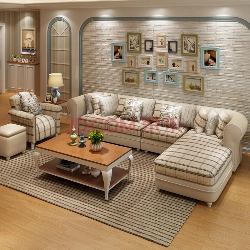 格日家具 美式乡村布艺沙发组合地中海小户型客厅可拆洗转角沙发b019图片