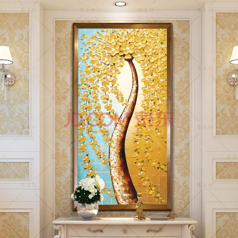 慧玉轩纯手绘油画欧式客厅壁画玄关装饰画实木有框