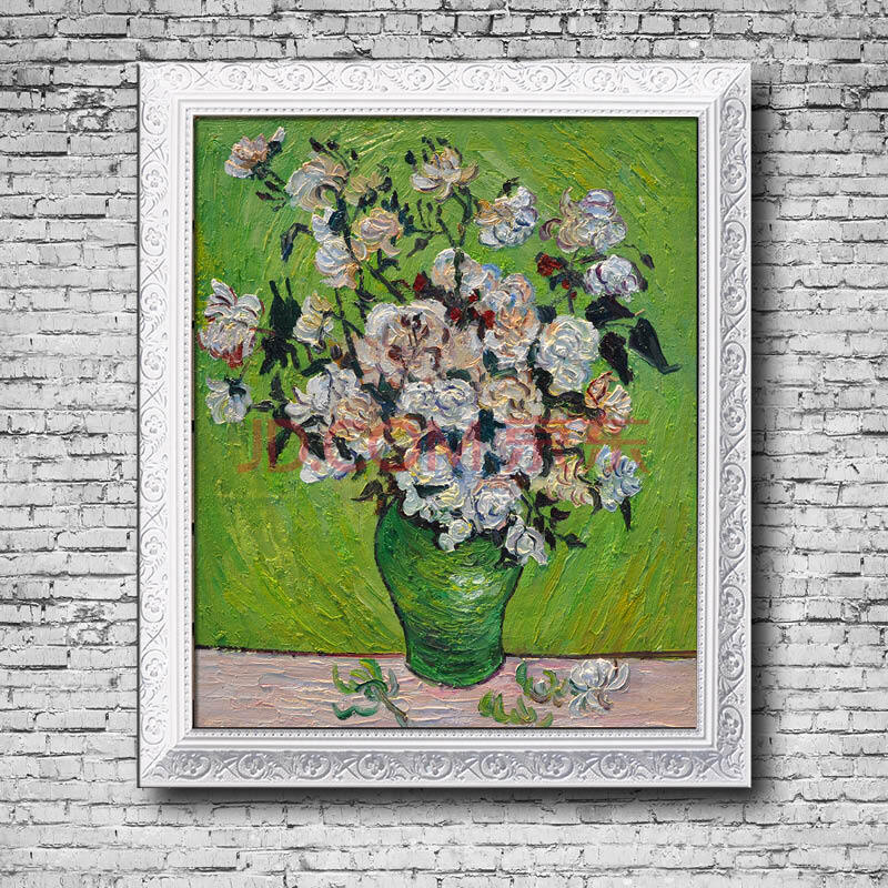 梵高 瓶子中的玫瑰花 手绘油画欧式花卉静物有框画 高档世界名画玄关