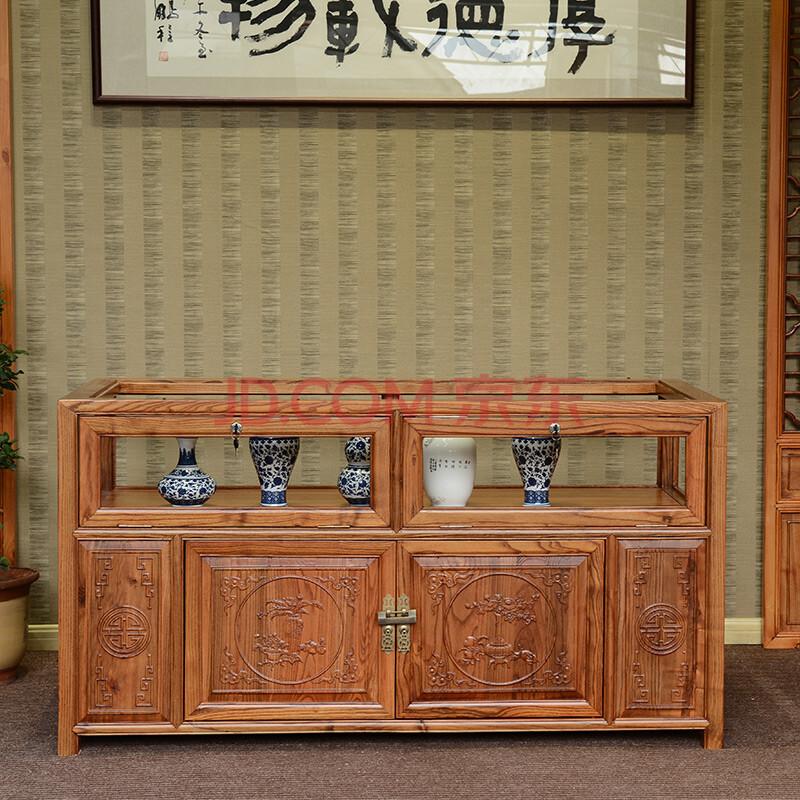 实木南榆木展示柜珠宝柜 中式看宝台玻璃玉器展柜 仿古首饰柜台 怡家图片