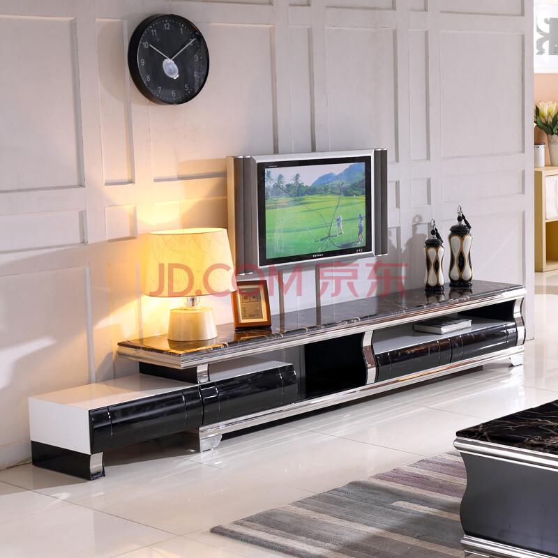 艾嘉图 大理石电视柜 现代简约烤漆伸缩电视柜茶几组合地柜收纳柜 黑