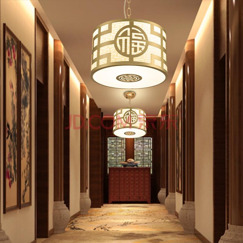 餐厅灯现代简约卧室书房茶楼led中式吊灯 金色-可吊顶也可吸顶安装图片