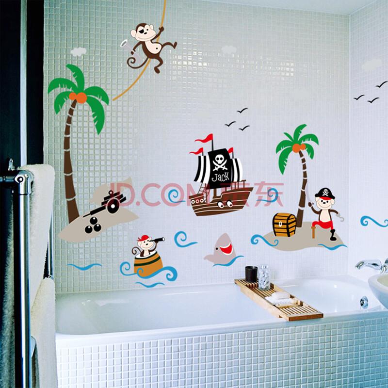 米基卡罗 椰树海盗船 儿童房幼儿园背景装饰画贴纸pvc