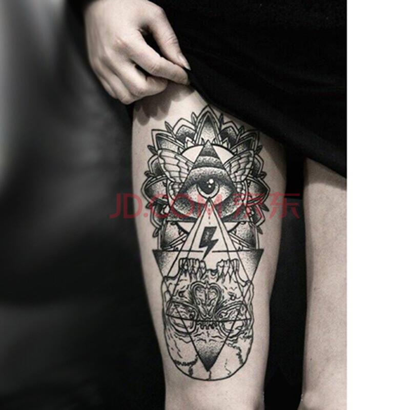 大图纹身贴纸大象花朵持久刺青