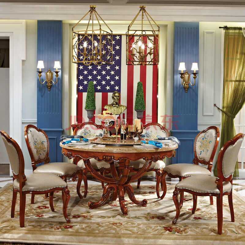 欧洛仕 美式实木圆餐桌 圆台 餐桌餐椅组合 手工雕刻橡木餐桌1 6椅 1.