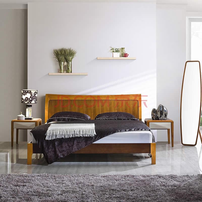 空中森林 原木色全实木大床 实木双人床 1.2米*1.9米