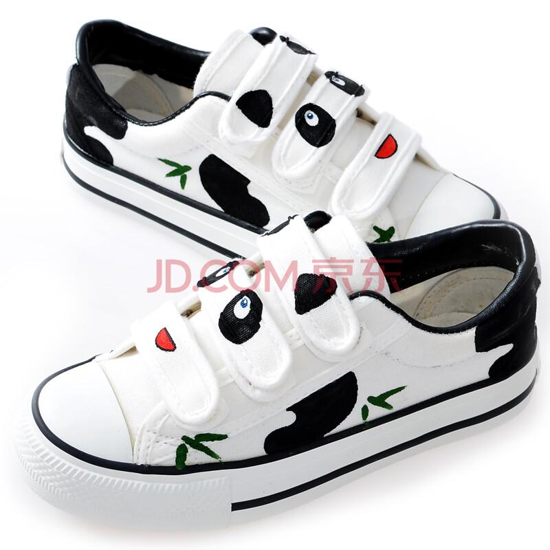 卜丁儿童手绘熊猫帆布鞋大小童魔术贴布鞋彩绘涂鸦卡通小动物学生鞋板