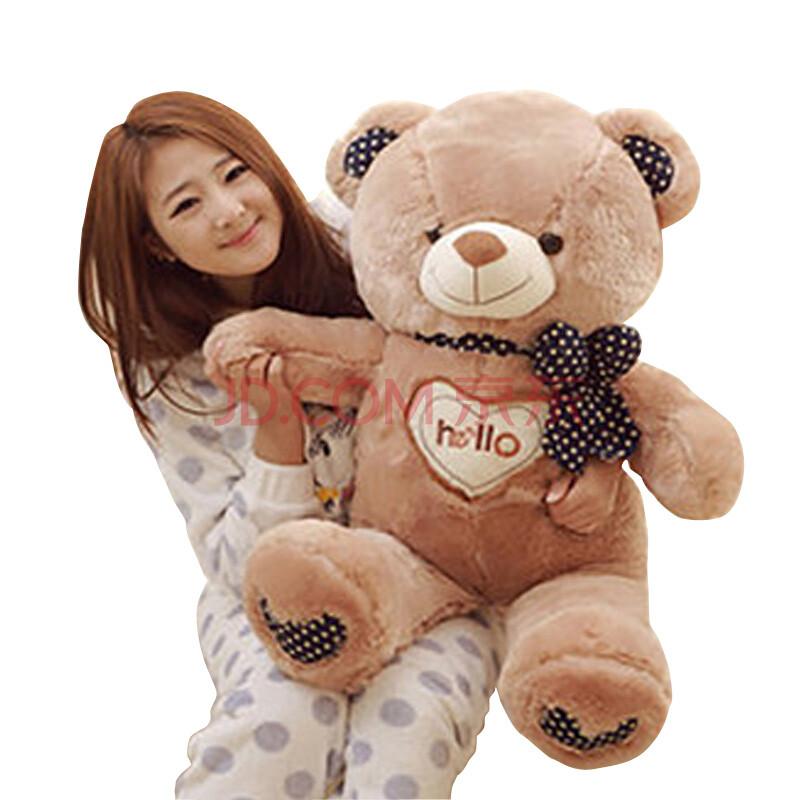 茵凡hello泰迪熊布娃娃可爱毛绒玩具玩偶抱抱熊大熊狗熊公仔 棕色