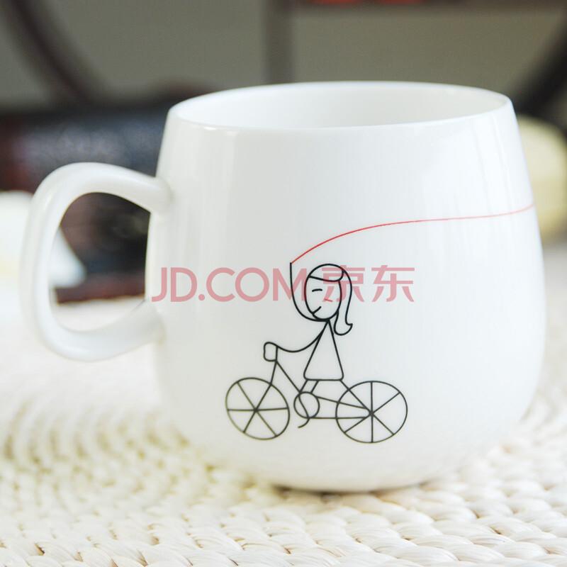 可爱创意杯子 情侣杯印花带盖杯子 多色多个图案可选