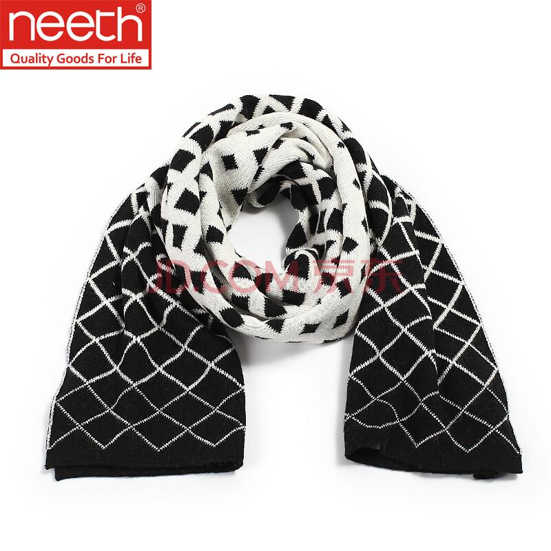 neeth2014秋冬新款男士围巾时尚韩版保暖围巾菱形网格