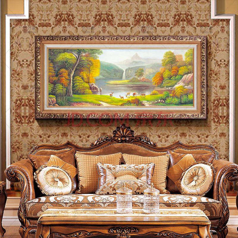 欧式大自然客厅玄关喷绘画沙发背景装饰画居家聚宝盆风水画山水壁挂画