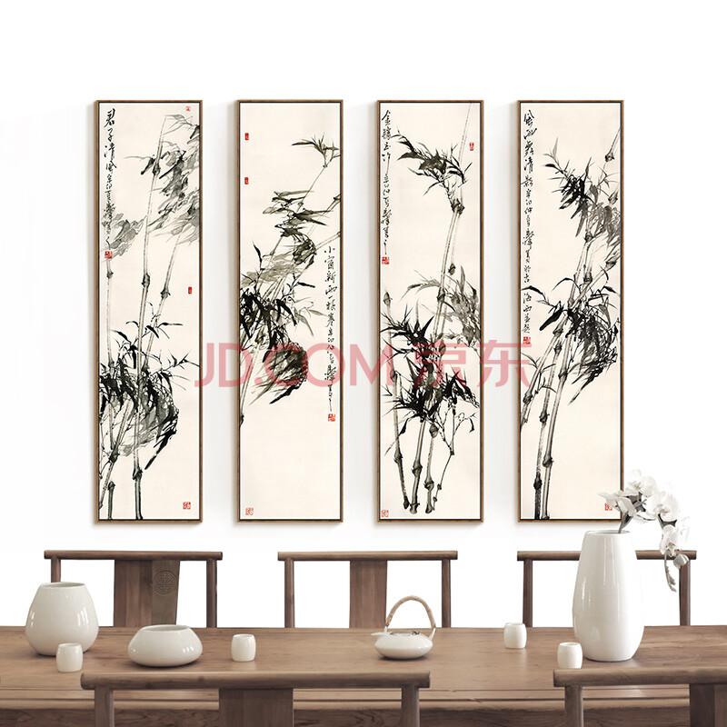 电视背景墙壁画马伟 abcd一套布艺画加框木纹细框 外框尺寸132cm*32cm图片