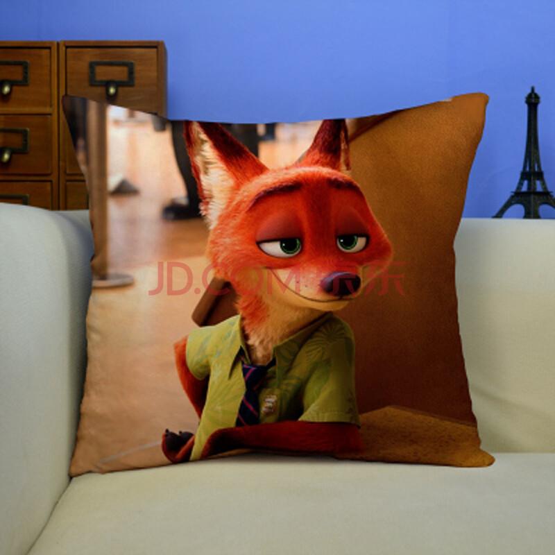 疯狂动物城周边抱枕毛绒玩偶兔子朱迪狐狸尼克靠枕玩具垫 图b 桃皮绒